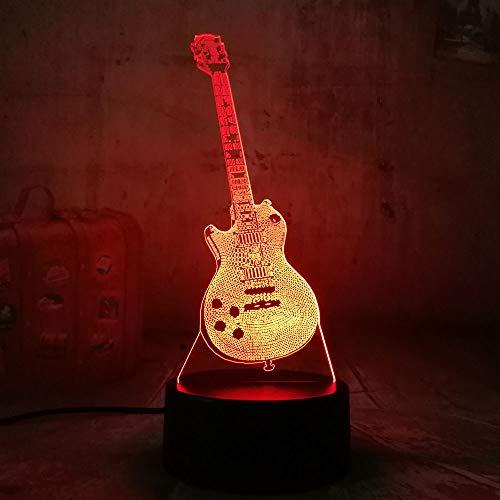 KangYD Bassgitarre 3D Rgb LED Nachtlicht Multicolor Kreative 7 Farbwechsel Schreibtischlampe Kinder Geschenk Wohnkultur LED Nachtlichter Usb Touch 7 Farbe/Kindergeschenk