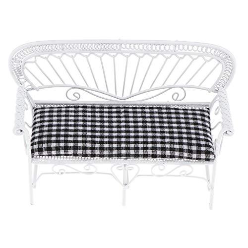 KESOTO 1:12 Puppenhaus Gartendekoration - Miniaturmöbel Doppelstuhl Parkbank Gartenbank mit Matte - 13,3 × 4,3 × 8,9 cm - Schwarz + Weiß