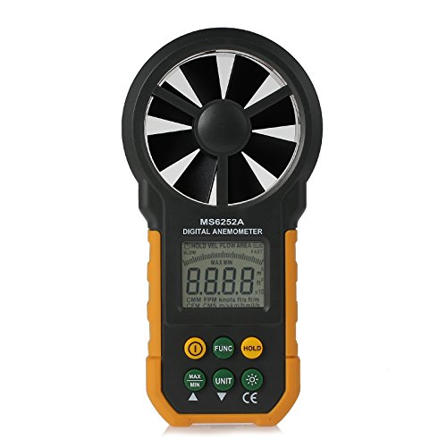 Neoteck MPM6252A Anemometro Digitale LCD Misuratore della Velocità del Vento Velocità del Flusso d'Aria di Velocità del Vento Meter Termometro Digitale con Retroilluminazione