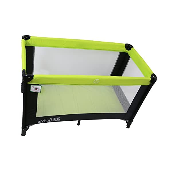iSafe Rest & Play Luxury Travel Cot/Playpen - Lime (Black/Lime) 120 cm x 60 cm Rest & Play Luxury Travel Cot / Playpen Four Mesh Side Panels Allow Ventilation & Easy Viewing Of Your Little One Complete With Handy Carry Bag Complete With Shoulder Handle Straps Or Carry Handle 2