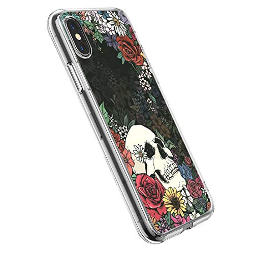 3Ciker Hülle kompatibel für iPhone XS MAX Handyhülle,Halloween-Schädel Silikon Crystal Clear Transparent Ultra Slim Flexible Luftkissen Schutzhülle für iPhone XS MAX Handy Case (Ist Halloween Max)