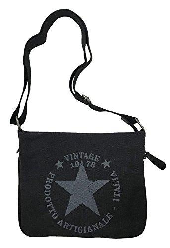 Schwarz Canvas-tasche (STERN Umhängetasche Damen Tasche Star Fashion Canvas Stoff Stamp (Schwarz))