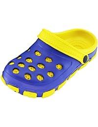 Kinder Clogs Pantoffel Schuhe Gartenschuhe Hausschuhe - Blau/Gelb Pink/Grün Schwarz/Rot und Hellblau/Lila Gr. 30-35 von Brandsseller