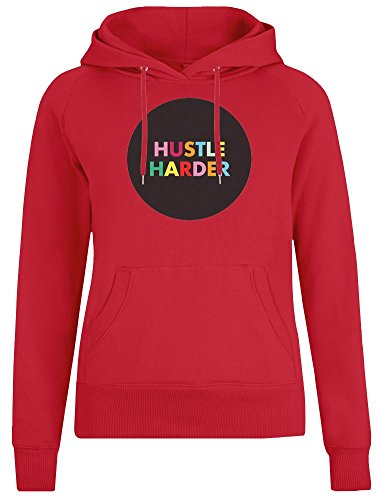 Hustle Harder Jacket with Hoodie for Women - 100% Soft Cotton - High Quality DTG Printing - Custom Printed Womens Clothing