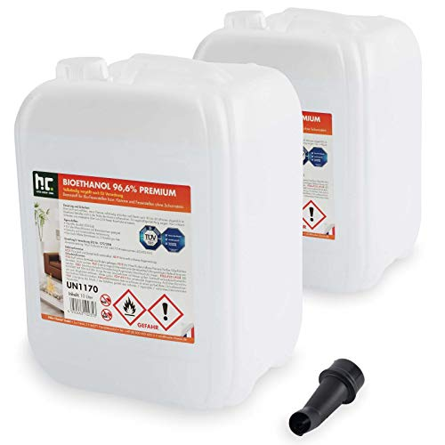 Höfer Chemie 2 x 10 L (20 Liter) Bioethanol 96,6{431b8e2cb23a3c7e4643147342697cce1a52226166b2b068db0bd5afe3200cd5} Premium - TÜV SÜD zertifizierte QUALITÄT - für Ethanol Kamin, Ethanol Feuerstelle, Ethanol Tischfeuer und Bioethanol Kamin