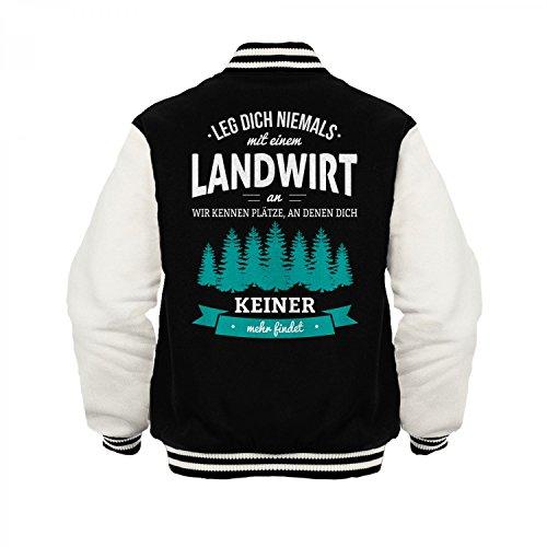 Fashionalarm Herren College Jacke - Leg Dich Niemals mit Einem Landwirt an | Varsity Baseball Jacket | Sweatjacke als Geschenk Idee Beruf, Farbe:schwarz/weiß;Größe:3XL