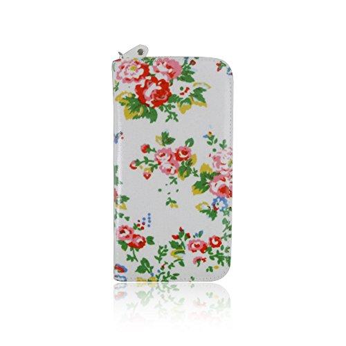 Mesdames portefeuille en imitation cuir pour femme Motif floral Zip Long porte-monnaie avec porte-cartes blanc