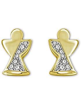 CLEVER SCHMUCK Goldene kleine Ohrstecker 8 mm Mini Engel geschlossen glänzend schlicht stilisiert halbseitig mit...