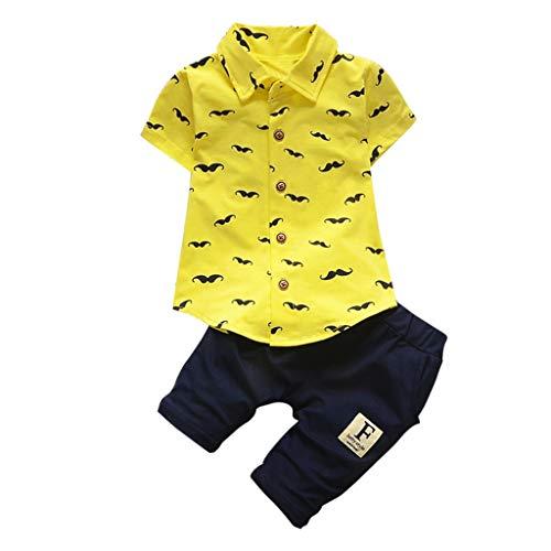 Kinderbekleidung Little Gentleman's Wear Unifarben Hosen + Bart Knöpfe Drucke Tops T-Shirts Sets(Gelb, M)
