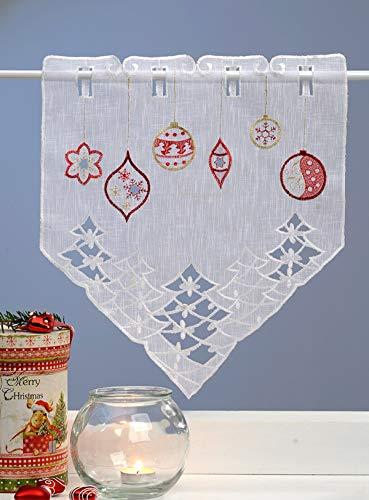 Haus und deko mini tendina decorativa natalizia con ricamo per finestra, ca. tenda in voile bianco, 35 x 40 cm