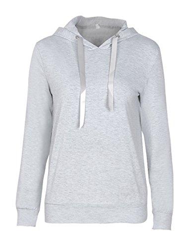 Helury Hoodie Sweatshirt Langarm Pullover Damen Sweater Blumen Kapuzenpulli Frauen Outwear Tops Grau