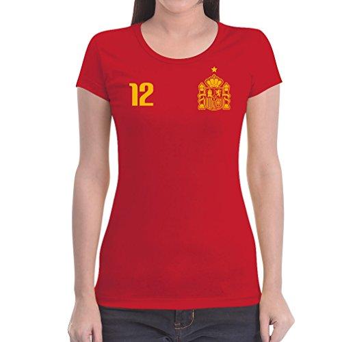 Shirtgeil maglia donna - coppa del mondo fans spagna maglietta da donna slim fit x-large rosso