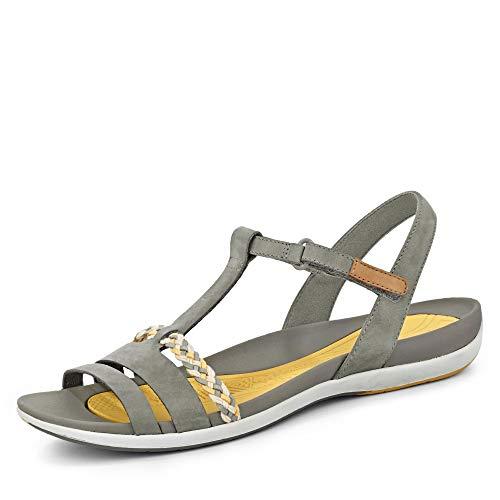 Clarks 26142360 Tealite Grace Damen sportive Sandale aus Leder mit Lederfutter, Groesse 36, grau -