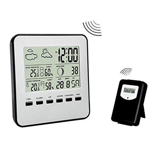 LCLrute Hochwertige Wetterstation Digitales Wetterkanal-Thermometer Professionelles Funk-Wettermonitor-Radio (Schwarz)