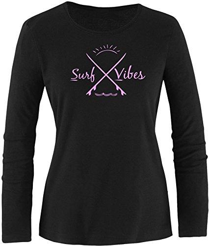 EZYshirt® Surf Vibes Damen Longsleeve Schwarz/ Rosa