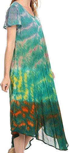 Sakkas Kaylaye Lungo Tie Dye Ombre ricamato del manicotto della protezione Vestito caftano / Cover Up Verde / viola