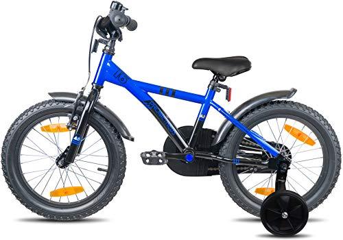 Prometheus Bicicletta per Bambini e Bambine da 5 Anni nei Colori Blu e Nero da 16 Pollici con rotelle e contropedale – BMX da 16″ Modello 2019 - 4