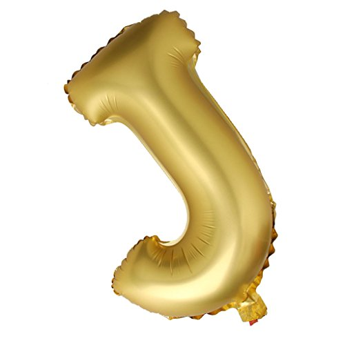Segolike Alphabet Letter Silver/Gold Big Foil Balloon Inflated Ball Wedding Party Supplies 40 Inch - gold, J
