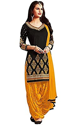 Rensil Women's Poly Cotton Dress Material Dress Material (Rdblack&Yellow_Free Size) - Black & Yellow Length : Kameez ( Top ) - 2.30 Meters, Salwar ( Bottom ) - 2.10 Meters, Dupatta ( Scarf ) - 2.10 Meters