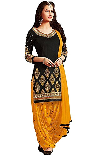 Women's Clothing Dress Material Designer Party Wear Today Low Price Sale Offer Black Color Poly Cotton Fabric Free Size Salwar Kameez Suit Dupatta  available at amazon for Rs.199