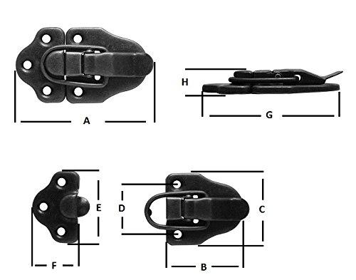 2 x Spannverschluss Kistenverschluss Schnappschloss Kofferverschluß Hebelverschluss brüniert