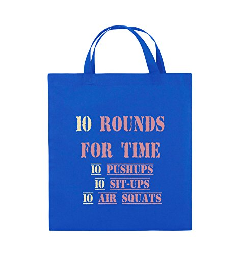 Comedy Bags - 10 Rounds for time 10 pushups 10 sit ups 10 air squats - Jutebeutel - kurze Henkel - 38x42cm - Farbe: Schwarz / Weiss-Neongrün Royalblau / Rosa-Beige