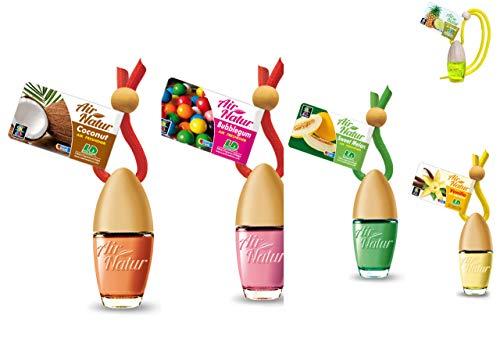 Air Natur 5 Stück Stylische Duftflakons fürs Auto und Zuhause Autoduft Raumduft Lufterfrischer Apfel, Ananas, Kirsche, Kokosnuss, Melone -