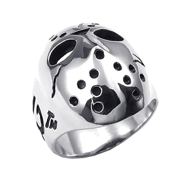 Anillo de máscara de Jason de acero inoxidable cromado para hombres ...