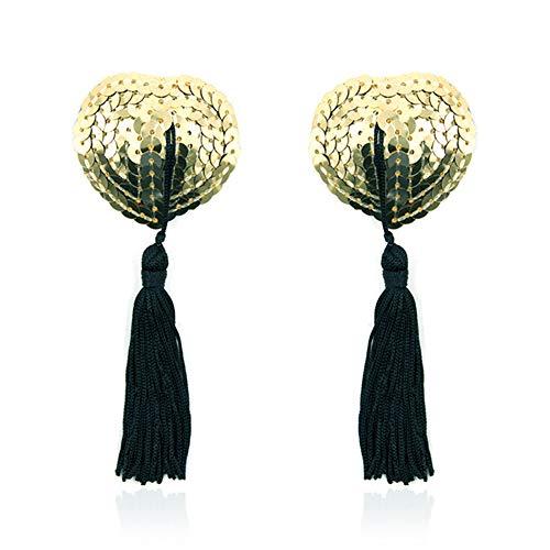 SQUAREDO BH mit Quaste - Damen Silikon Blütenblätter Pailletten Herz Pasties Klebstoff Nipple Cover Wiederverwendbarer BH (Gold+Black)