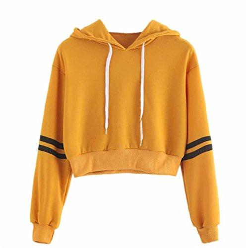 Moonuy zur Seite Fahren,Frauen Crop Hooded Tops, Varsity-Striped Kordelzug Crop Hoodie Sweatshirt Pullover Crop Pullover, Baumwolle Patchwork T-Shirt Fashion Batik Tops (EU 40/Asien XL, Jaune)