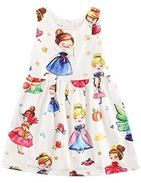 Sanlutoz Vestidos de niñas vestidos sin mangas vintage impreso princesa vestido floral