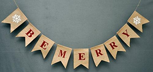 Jute-Banner   Weihnachts-Jute-Banner   Schneeflocken-Girlande   Urlaubs-Wimpelkette   Banner für drinnen und draußen   Natur-Jute-Banner   Weihnachts-Dekoration, BE MERRY