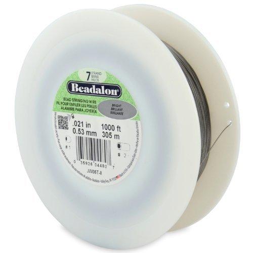 Beadalon 7-Strand Bead Stringing Wire, 0.021-Inch, Bright, 1000-Feet by Beadalon