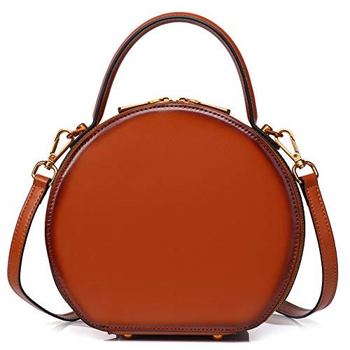Women's Circle Messenger Sling Taschen Aus Echtem Leder Schulter Handtaschen Vintage Totes Satchel Handtasche Runde Top-Griff Tasche,Brown-22 * 8 * 20CM - Womens Braun Leder
