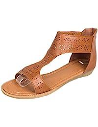 c559955e6 Lolittas Ladies Leather Flat Platform Wedge Sandals Gladiator Greek  Style