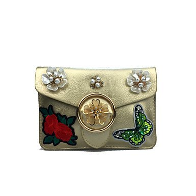 pwne Frauen Handy Tasche Pu-Kunstleder All Seasons And Event / Party Im Freien Sling Tasche Strass Gestickte Blume Spange Lockbrown Rot Gold