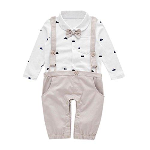 bobo4818 Baby Taufe Hochzeit, Baby Jungen Gentleman Outfits Anzüge, Kleinkind Kurzarm Shirt + Trägerhose + Fliege Overalls Kleidung Set (Gray-80)