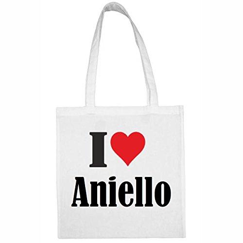 """Tasche""""I Love Aniello""""Größe""""38x42""""Farbe""""Weiss""""Druck""""Schwarz"""