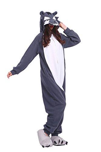 Imagen de darkcom  disfraz de animal unisex para adulto sirve como pijama o cosplay sleepsuit de una pieza lobo gris alternativa