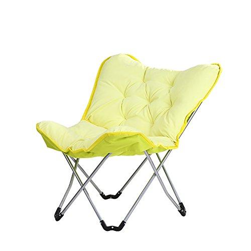 Chaise Longue Se Pliant Paresseux Chaise de Chaise de Papillon Chaise Chaise de Lune de Lune pour Le Balcon/Bureau (Couleur : Le Jaune)