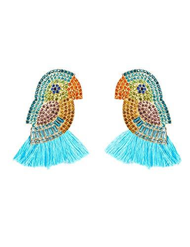 Farbe Diamant Papagei Quaste Ohrringe Retro Temperament Bankett Hochzeit T Taiwan Urlaub Geschenke Mode Exquisite Tier Ohrschmuck (Color : Blue) ()