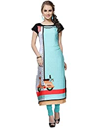 Ziyaa Women's Multicoloured Boat Neck With Cap Sleeve Crepe Digital Print Straight Kurta (ZIKUCR536)