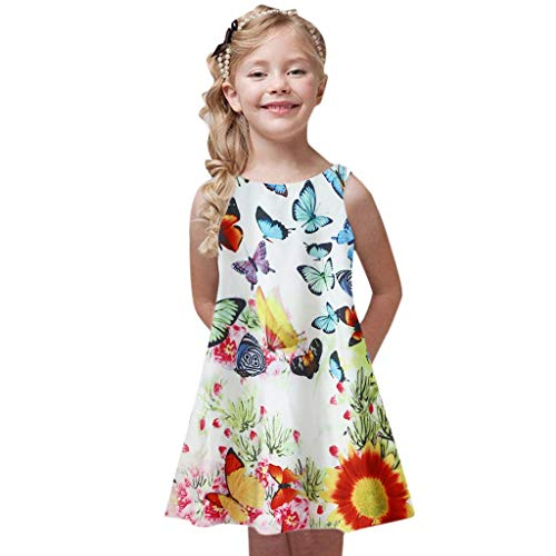 KIMODO Kleinkind Baby Mädchen A-Linie Kleid Drucken Ärmellose Sommer Urlaub Strandkleid Prinzessin Partykleider