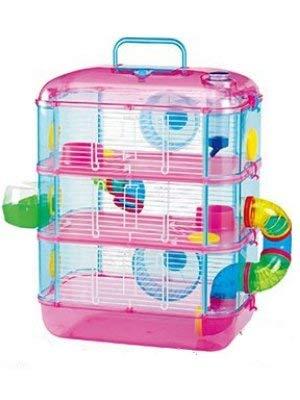 Hamsterkäfig Neon Leo 3Ebenen, Rennmäuse, Mäuse, pink und Aquablau