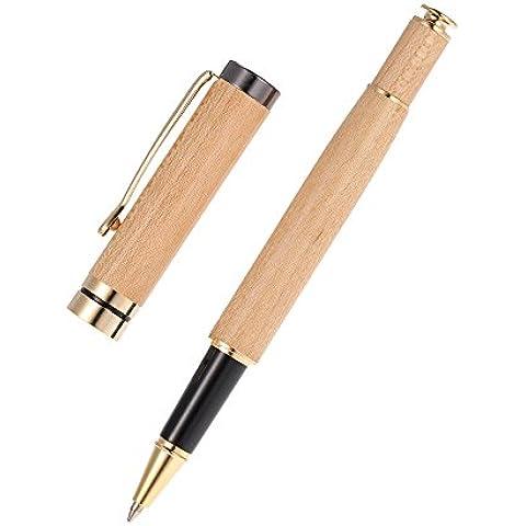 Anself - Bolígrafo de Tinta Gel(Negro) con Caja,De Madera de Arce