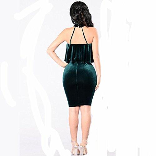Longwu la femme est sexy à bretelles halter feuille de lotus pointe mince pansement soir tube robe Armée verte