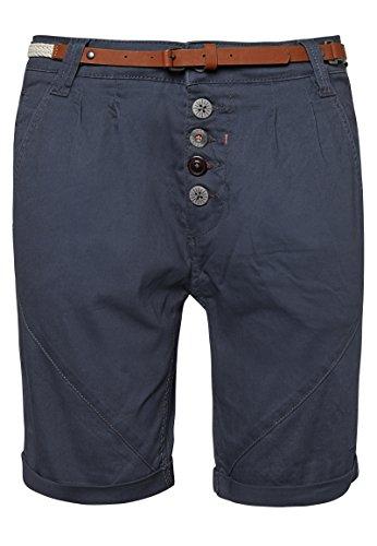 Sublevel Damen Chino-Shorts mit Flecht-Gürtel I Leichte Bermuda I Kurze Hose in Schwarz, Weiß, Grau & Rosé Dark-Blue L