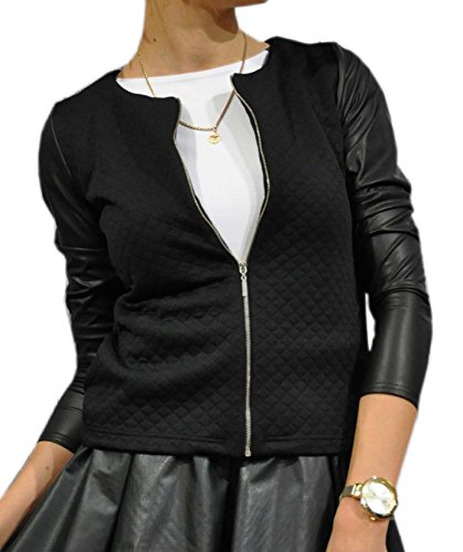 Bello e elegante cardigan bolero da donna giacca trapuntata con maniche in ecopelle con zip (179) (52 (3xl), nero)