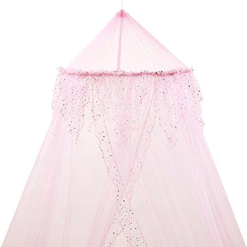 Mosquito Nets 4 U - Zanzariera da letto con balza ricamata di lustrini argentati rosa