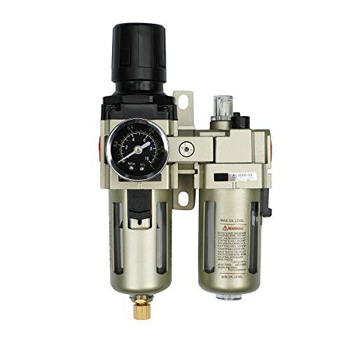 Neu Wasserabscheider Druckminderer Druckluftregler für Druckluftkompressor,3/8 Zoll Filter und Ölnebel mit Becherabdeckung